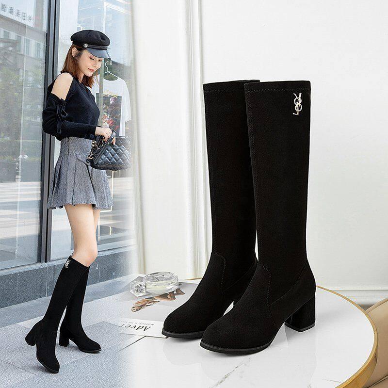 长靴女不过膝2020秋冬新款靴子女中筒靴百搭弹力瘦瘦靴粗跟高筒靴