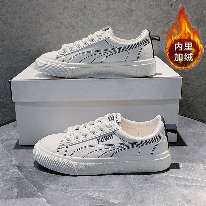 056真皮小白鞋女2020秋季新款女鞋平底加绒低帮鞋学生板运动休闲鞋女