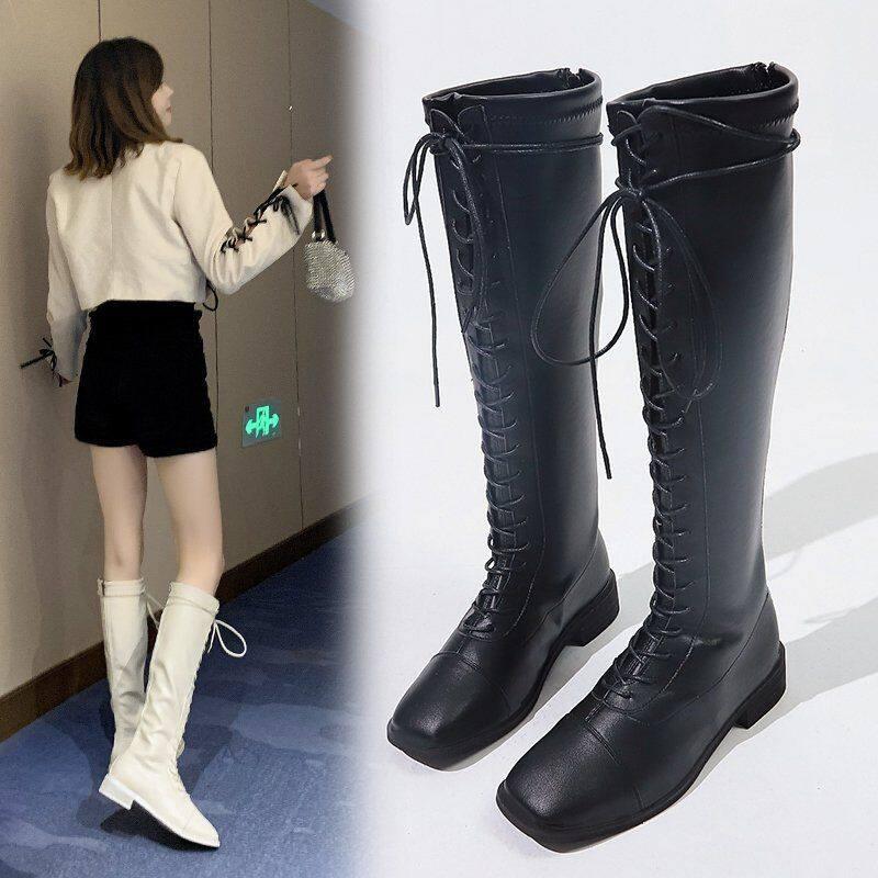 长靴女高筒靴2020年新款不过膝中筒靴女春秋单靴粗跟高筒靴皮靴子