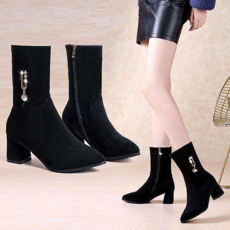 中筒靴女2020新款粗跟中帮女靴单靴高筒鞋网红百搭秋冬季高跟短靴