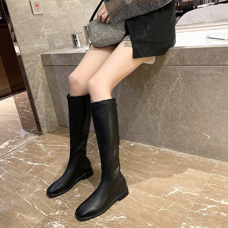 长筒靴女2020秋款马靴骑士靴女高筒不过膝靴子皮靴中筒女瘦瘦靴潮