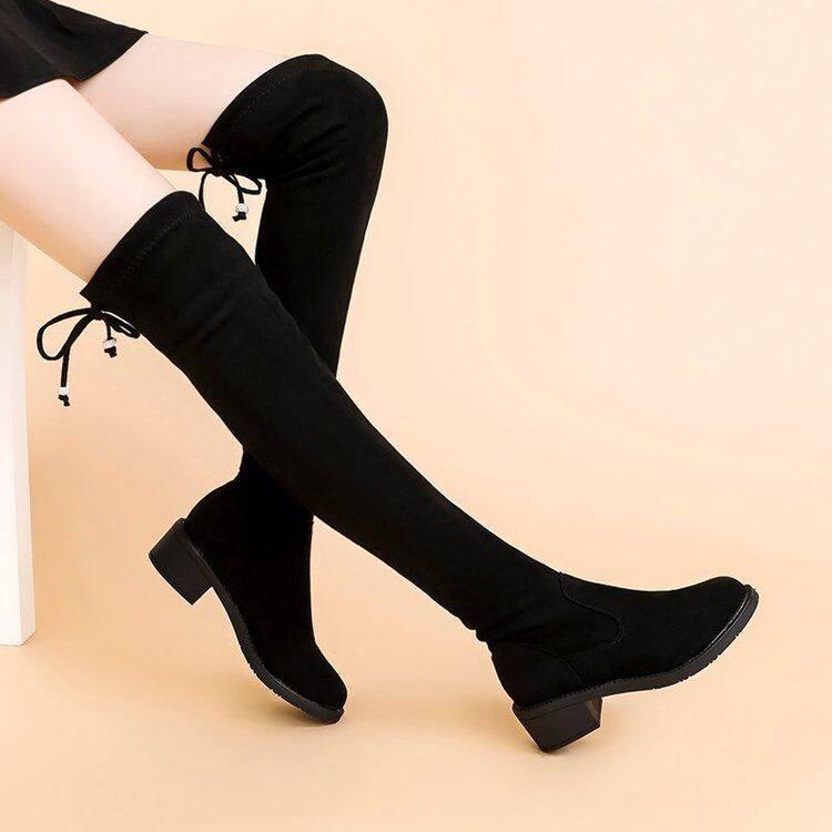 长靴女2020新款过膝靴显瘦高筒靴粗跟平底高靴弹力加绒长筒靴