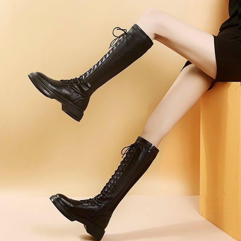 长筒靴女不过膝2020新款春秋马丁靴女高筒靴弹力瘦瘦靴绑带骑士靴