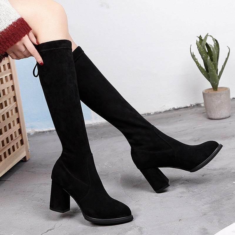 长靴女2020新款秋冬女靴子粗跟弹力靴高跟网红瘦瘦靴不过膝中筒靴