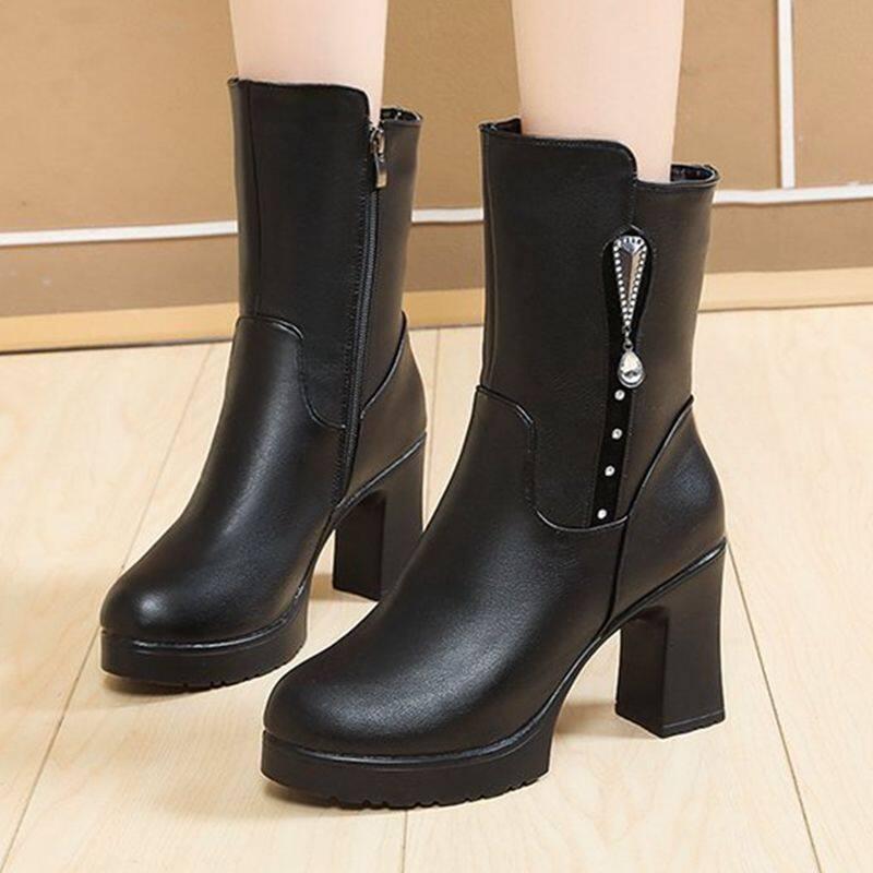 中筒靴女2020新款秋冬靴子女粗跟马丁靴高跟鞋加绒短靴冬保暖皮鞋