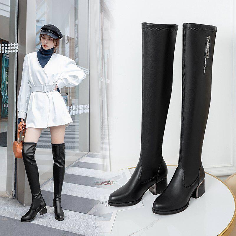长筒靴女靴2020年新款长靴女过膝粗跟瘦瘦靴高筒靴皮靴瘦瘦靴长靴