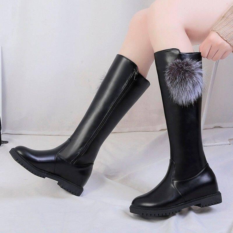 靴子女中筒靴2020新款英伦风秋冬不过膝女靴加绒百搭高筒骑士靴女
