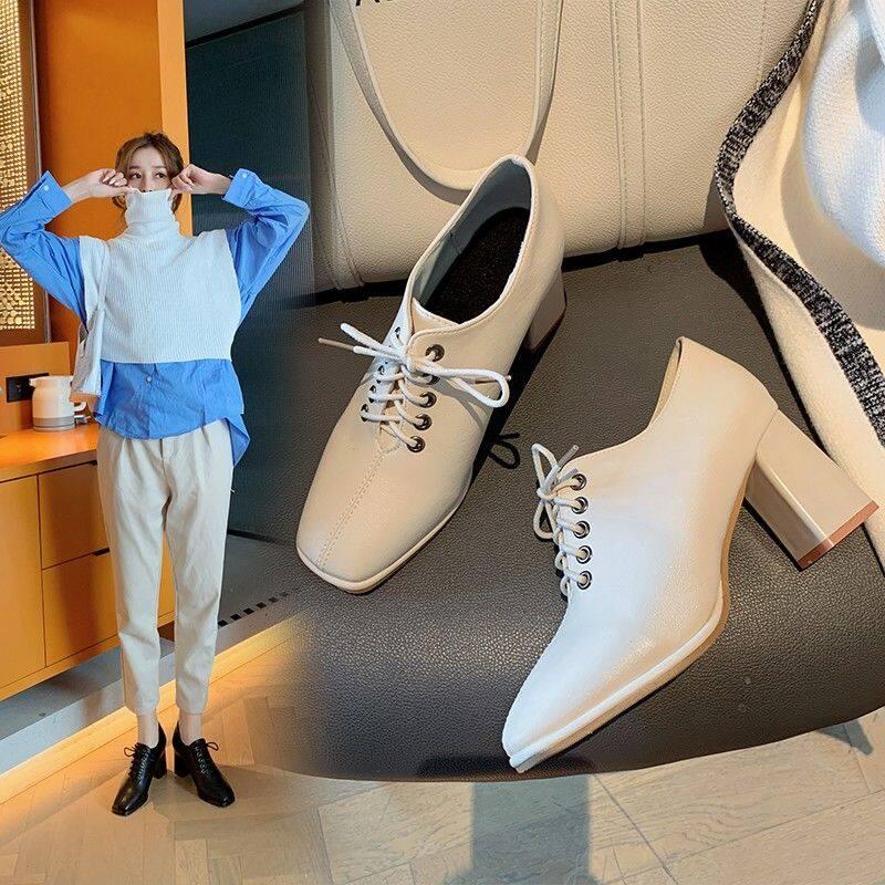 G81213高跟鞋女2020新款春秋季百搭粗跟高跟方头深口小皮鞋英伦风女单鞋