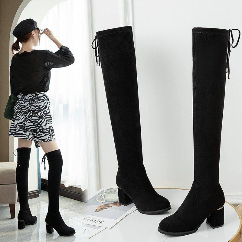 长靴女过膝长筒靴2020新款秋冬长筒靴女百搭高跟弹力瘦瘦靴高筒靴