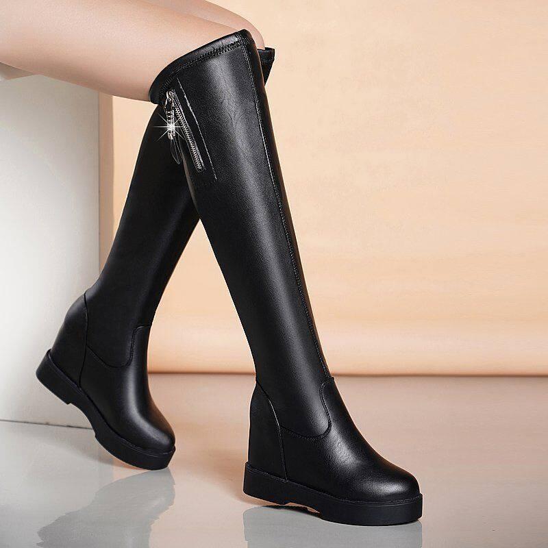 长筒靴女过膝靴2020新款秋冬长靴平底内增高弹力瘦瘦靴小个子长靴