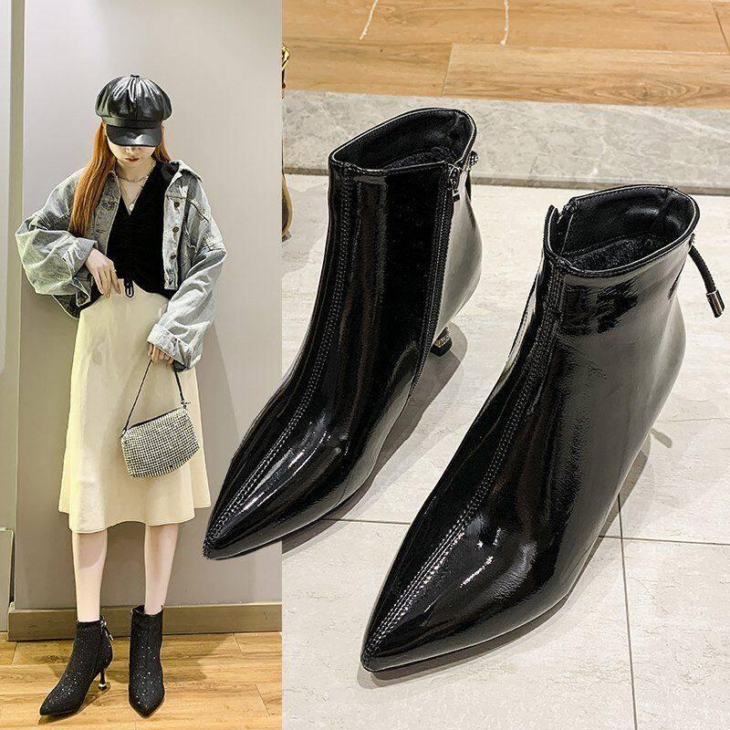 马丁靴女2020秋冬季新款网红瘦瘦靴尖头高跟鞋性感时尚细跟短靴女