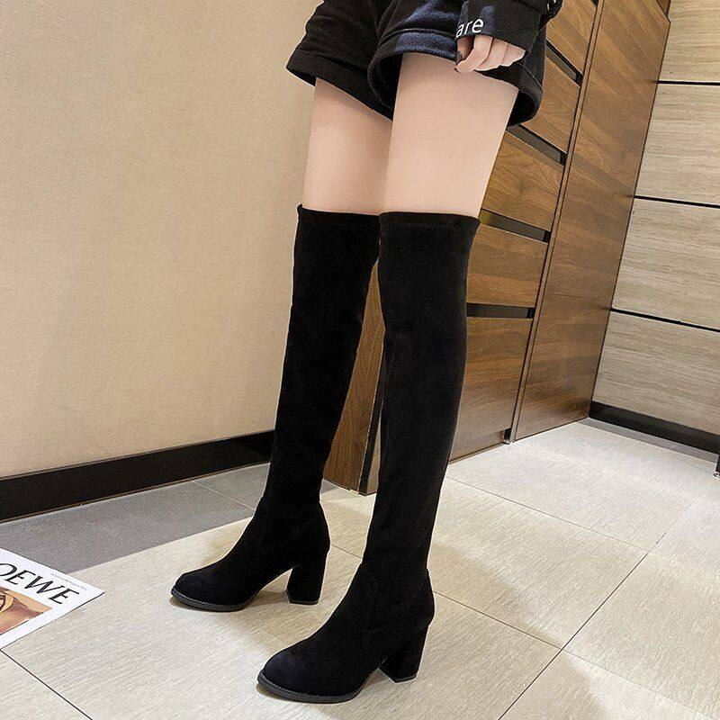 长靴女过膝靴2020新款秋冬季显瘦高筒靴粗跟弹力加绒长筒靴女