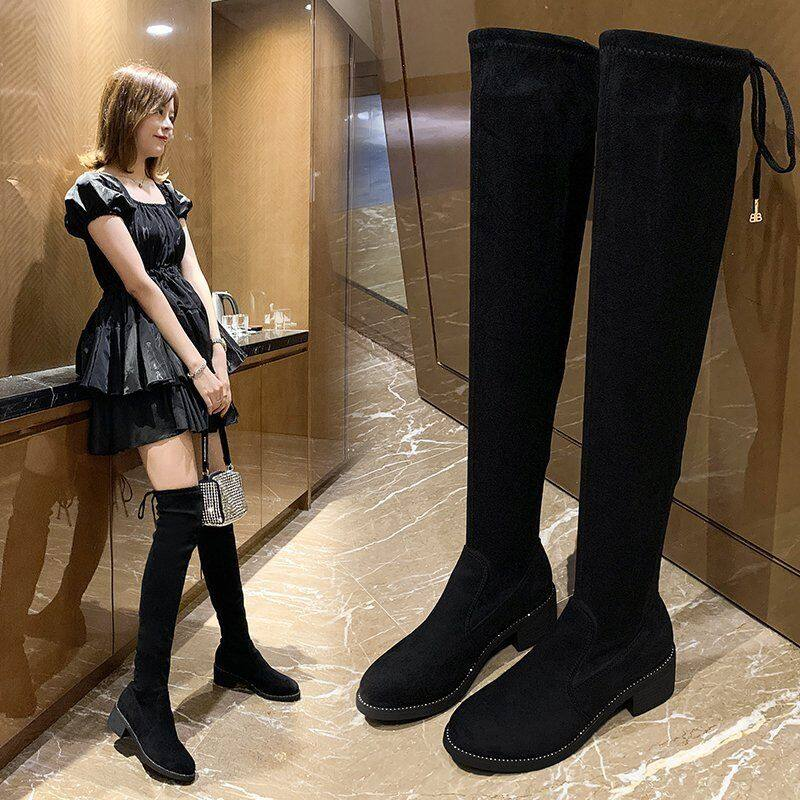 长筒靴女过膝长靴2020新款女靴秋冬加绒瘦瘦靴弹力高筒靴长筒靴女