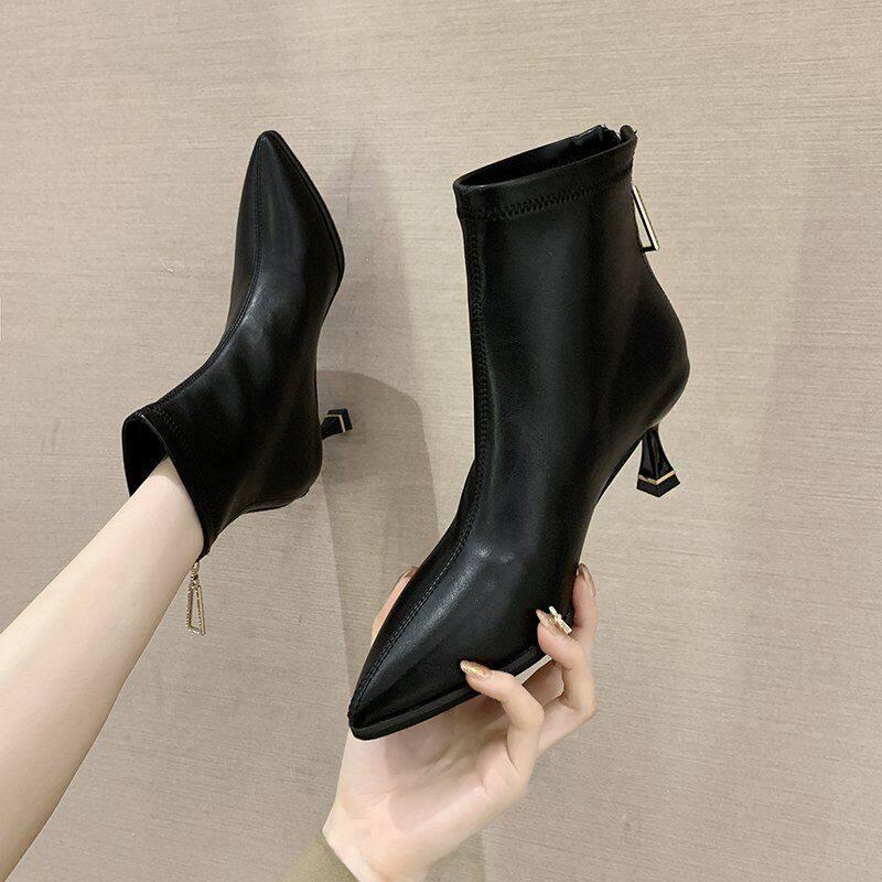 高跟靴子女短靴2020年新款秋冬瘦瘦靴细跟显瘦尖头马丁靴女及踝靴