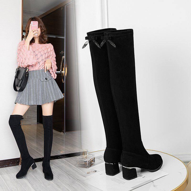 长靴女过膝靴2020新款靴子长筒靴粗跟弹力靴百搭网红瘦瘦靴高筒靴