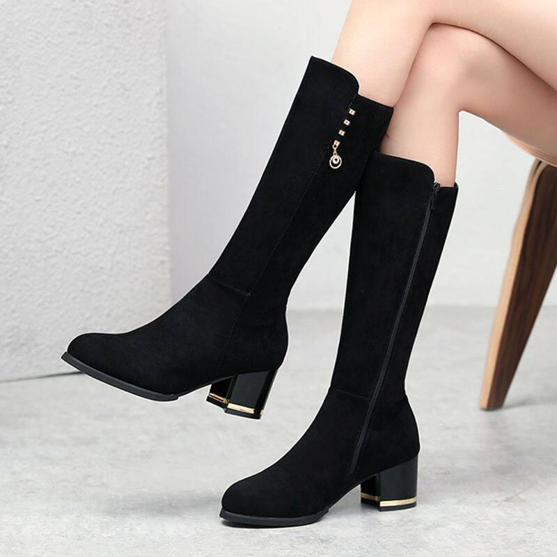 长筒靴女靴2020新款秋冬季性感粗跟高筒显瘦中筒靴子不过膝长靴女