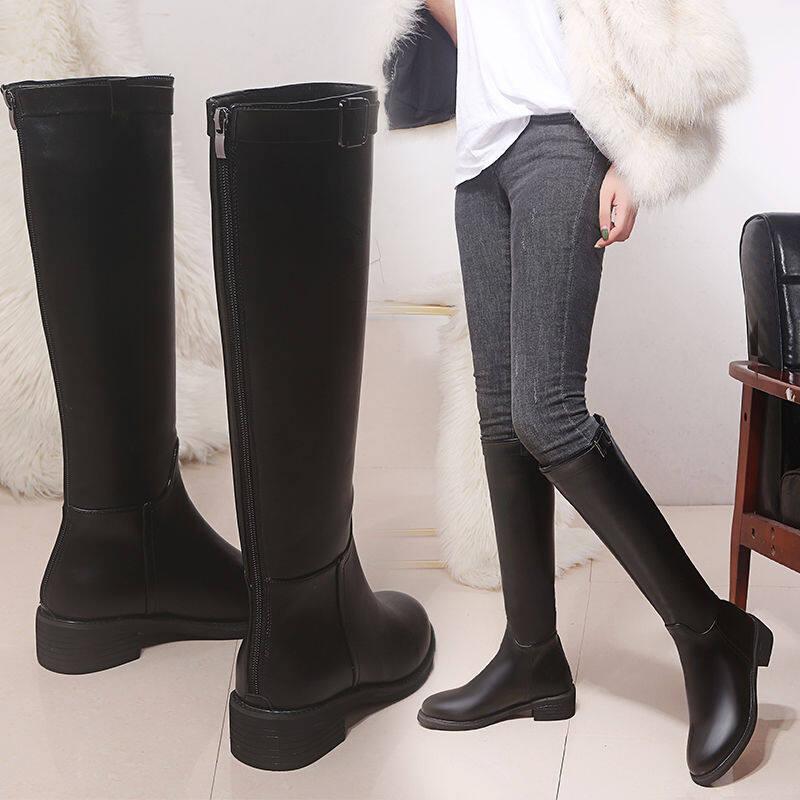 高筒靴皮靴2020新款秋冬靴子女骑士靴粗跟加绒马靴女不过膝长筒靴