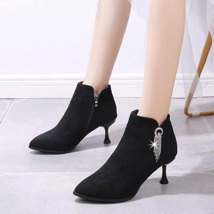 尖头短靴女2020新款秋冬细跟女鞋时尚短筒百搭高跟鞋女马丁靴裸靴