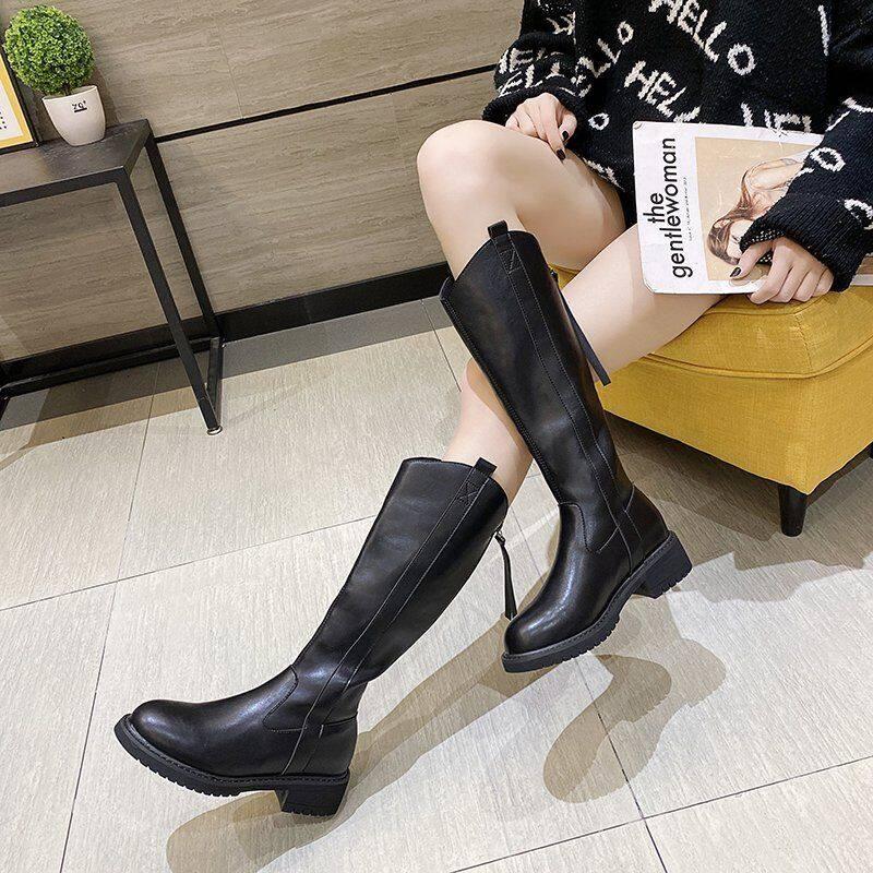 骑士靴女2020年新款秋冬高筒加绒靴子中筒皮靴平底不过膝高筒长靴