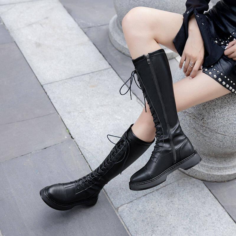 GME.81382中筒靴2020秋新款百搭长靴女网红高筒骑士靴帅气绑带马丁靴瘦瘦靴