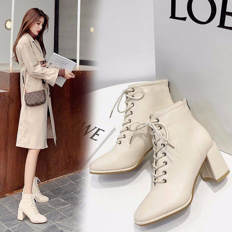 GME81331马丁靴女英伦风2020秋季新款百搭系带及裸短靴子高跟单鞋粗跟女靴