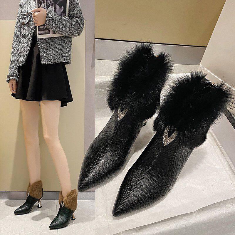 高跟靴子女短靴2020年新款秋冬细跟显瘦尖头马丁靴女裸靴真毛皮靴