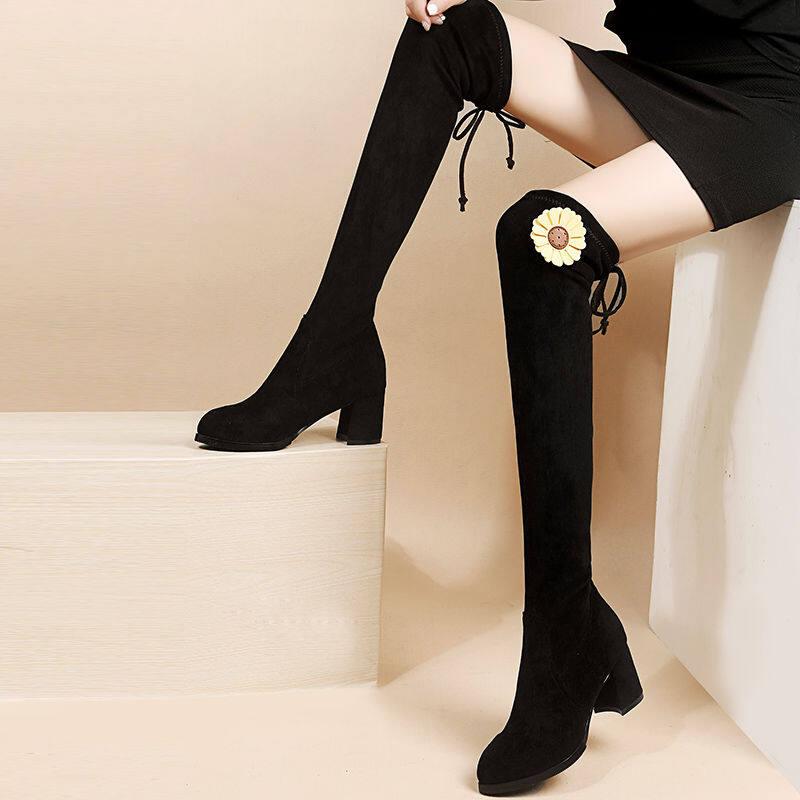 GME99-81弹力瘦瘦靴2020新款长筒靴粗跟显瘦弹力靴高筒靴秋冬加绒过膝长靴