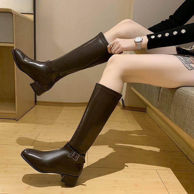 2020新款弹力骑士靴女高筒中跟方头粗跟时尚显瘦不过膝长靴子棕色