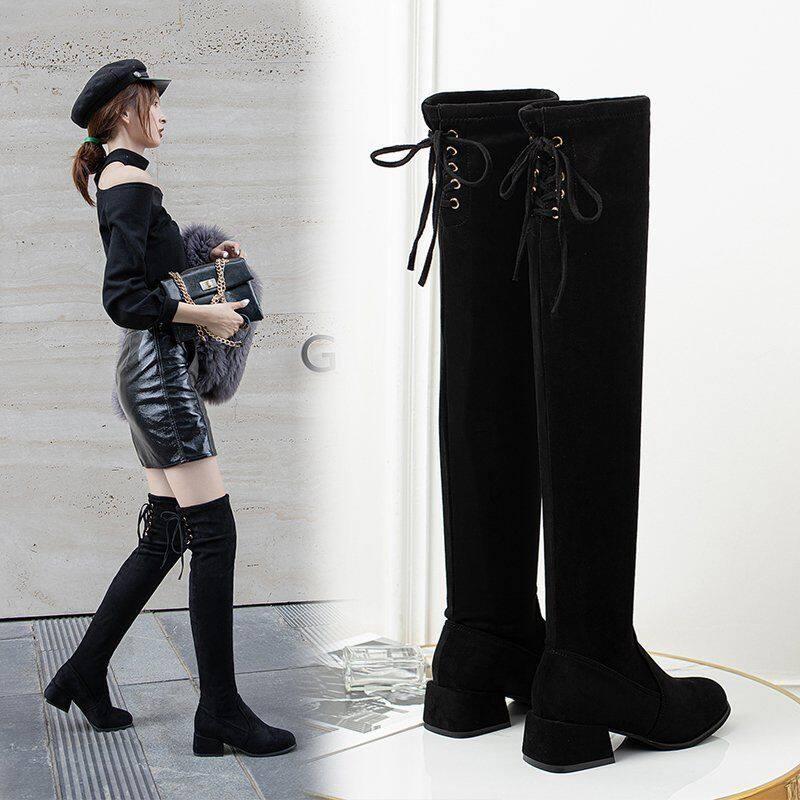 GME81923长靴女过膝靴2020秋冬新款粗跟长筒靴女高跟显瘦过膝靴弹力瘦瘦靴