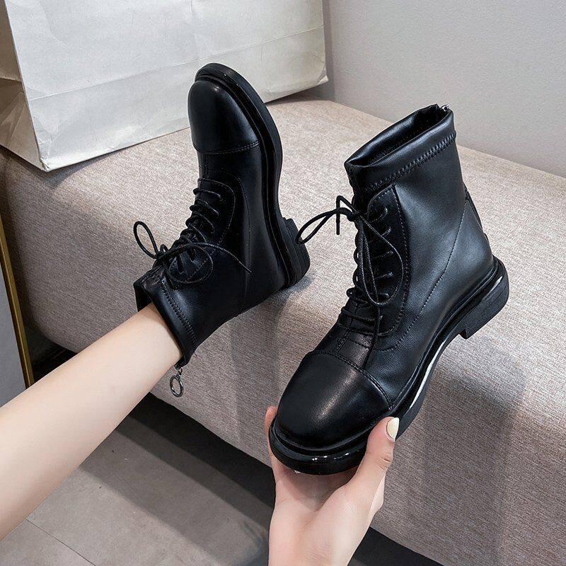 GME81370马丁靴女2020新款英伦风ins网红瘦瘦靴弹力靴短靴女百搭平底短靴