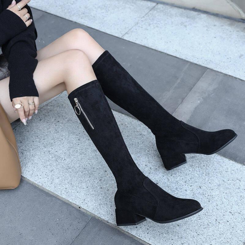 GME.81918中筒靴2020秋冬女靴子不过膝粗跟弹力长靴中跟弹力瘦瘦靴长筒女靴