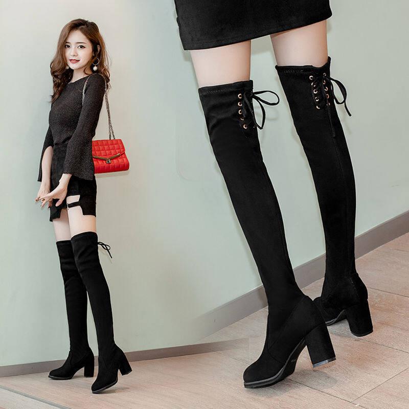 GME81853过膝长靴女2020新款秋冬百搭过膝靴长筒靴粗跟高跟高筒弹力瘦瘦靴