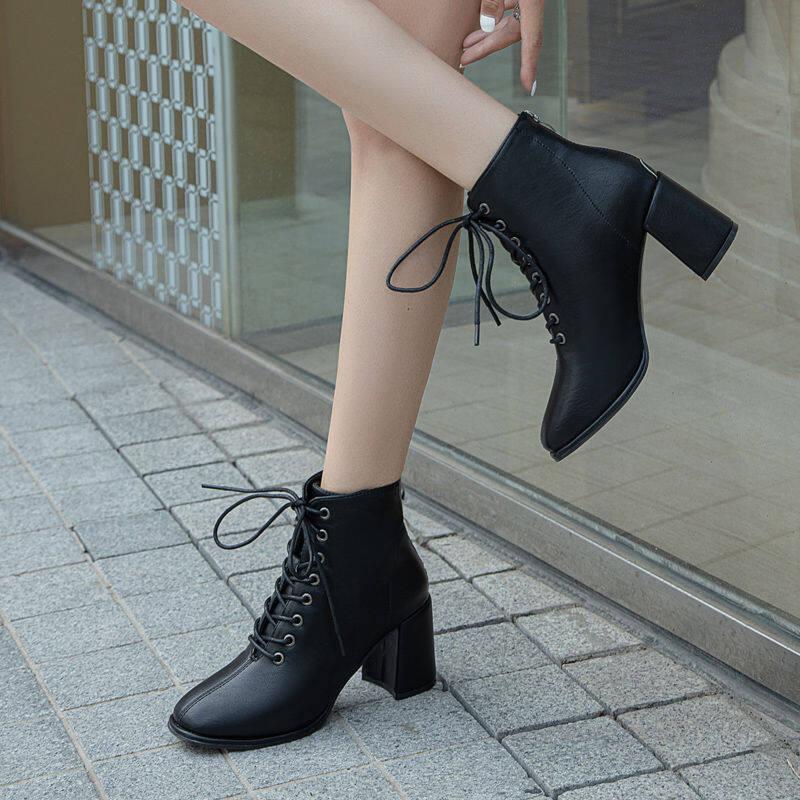 GME81369马丁靴女2020新款方头高跟鞋女百搭时尚英伦风系带粗跟单款女短靴