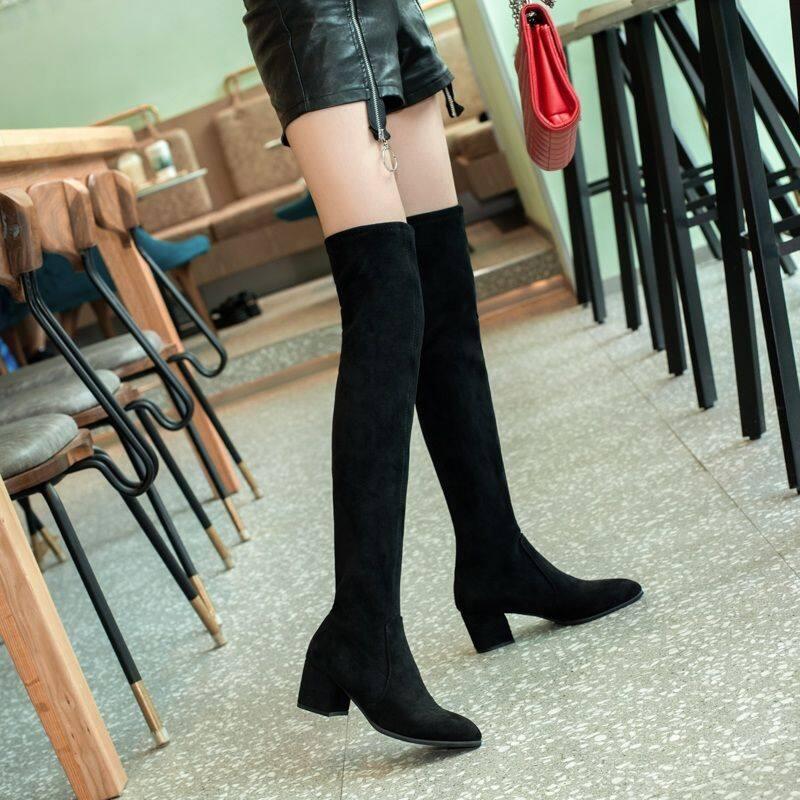 GME81531长筒靴女2020秋冬新款时尚性感过膝高跟靴子显瘦高筒弹力瘦瘦长靴