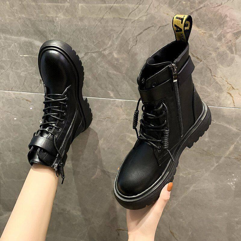 GME81716马丁靴女2020新款帅气短靴英伦风百搭ins秋冬季加绒厚底短靴单靴
