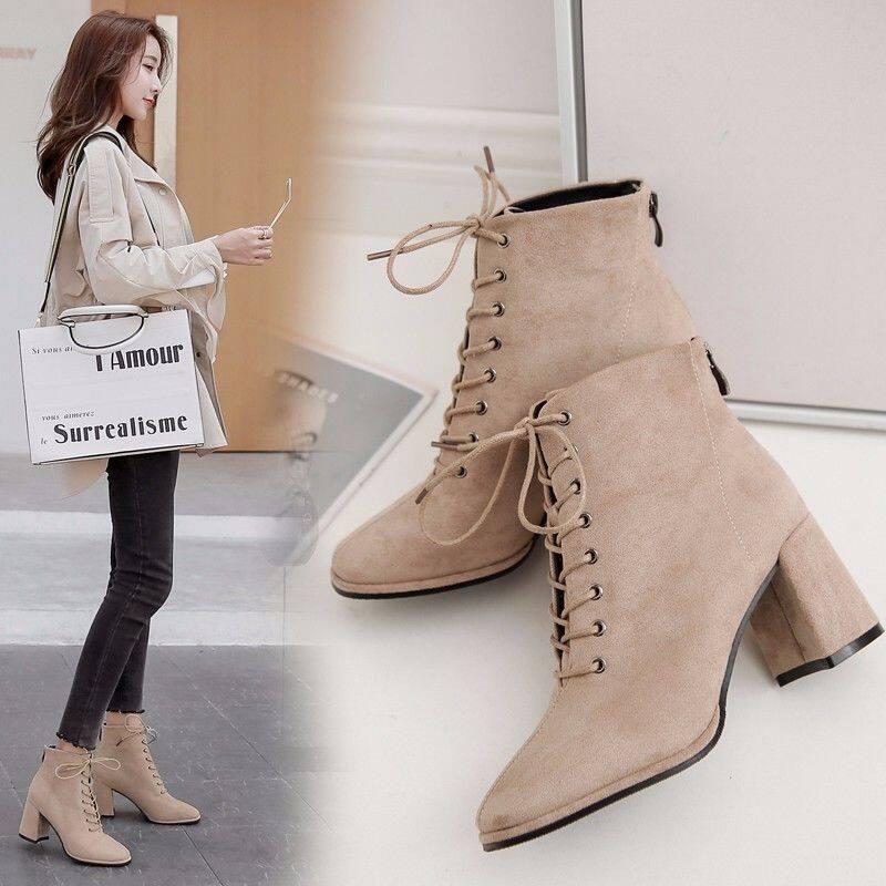 GME.8161短靴女2020新款秋季ins方头系带粗跟靴子英伦风高跟短靴子马丁靴
