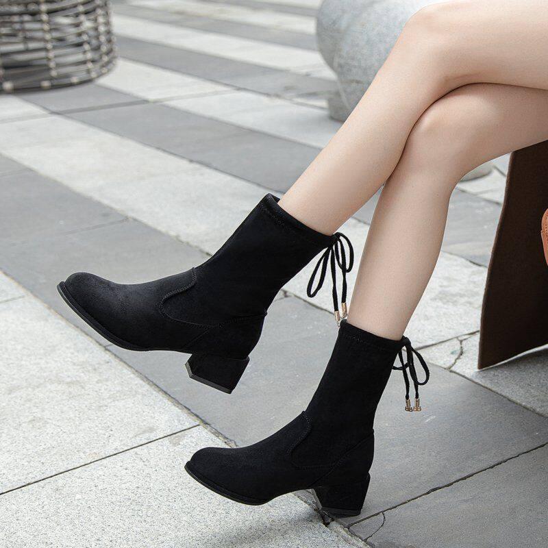 GME81283短靴女2020秋冬季新款ins粗跟中筒靴韩版百搭高跟网红短靴瘦瘦靴