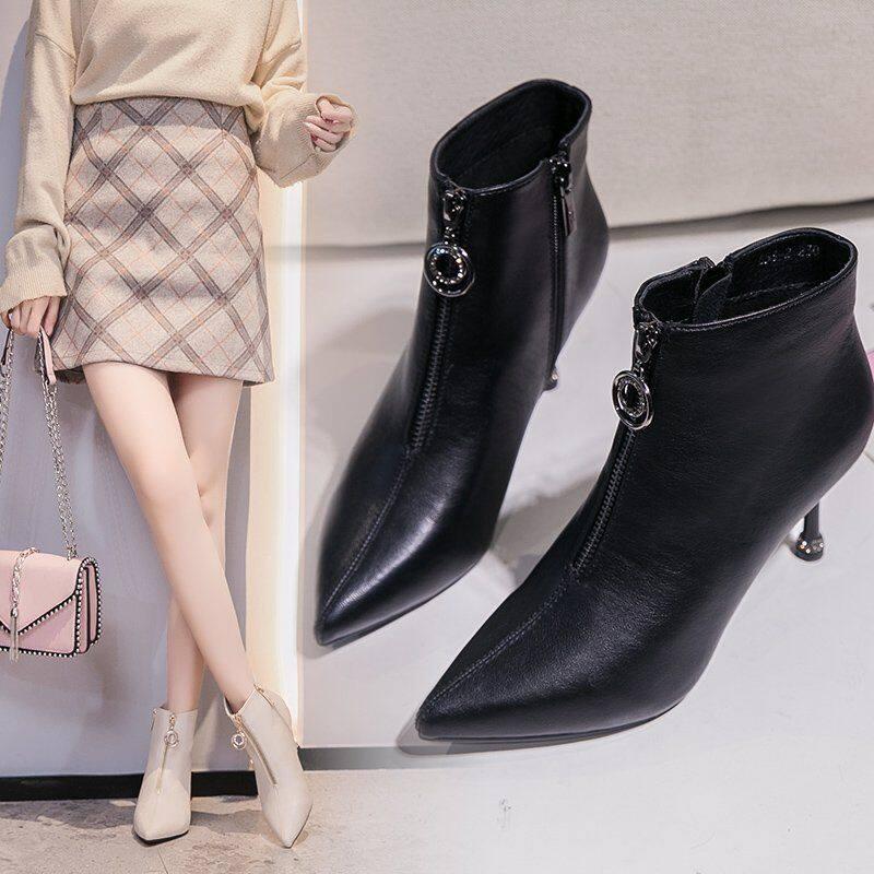 G17001前拉链短靴女2020新款秋冬短靴女法式裸靴瘦瘦靴细跟尖头高跟靴女