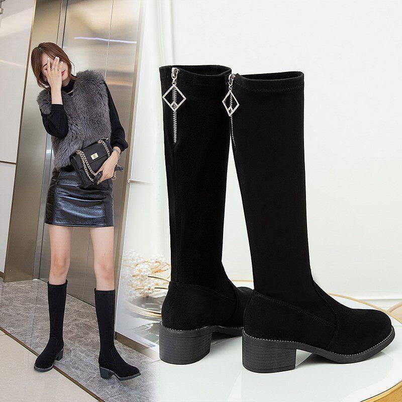 G5065长靴女中筒靴2020秋冬季新款不过膝长靴粗跟中跟弹力瘦瘦靴高筒靴