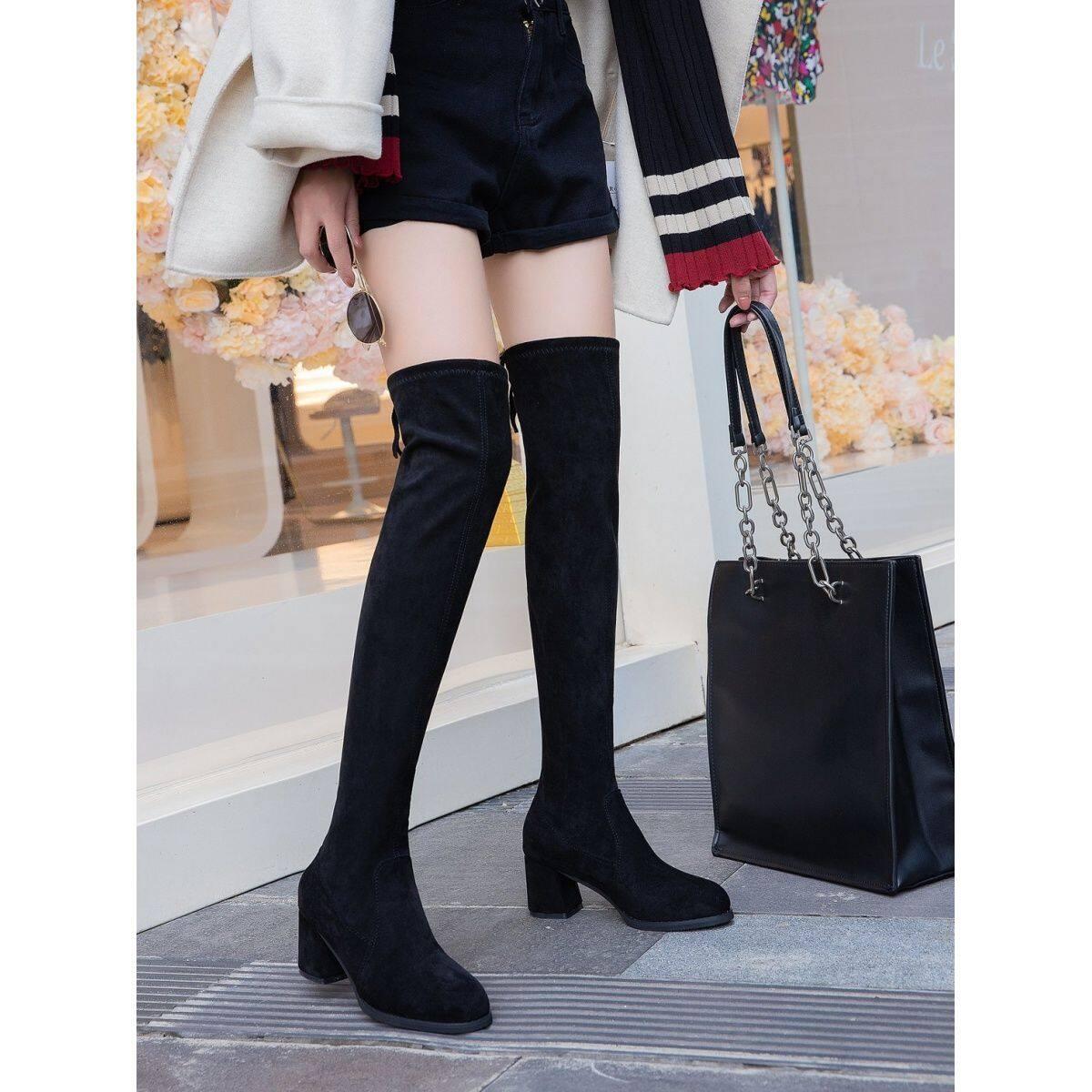 GME16182020秋冬新款长靴弹力过膝靴女粗跟长靴中跟网红瘦瘦高筒长筒女靴