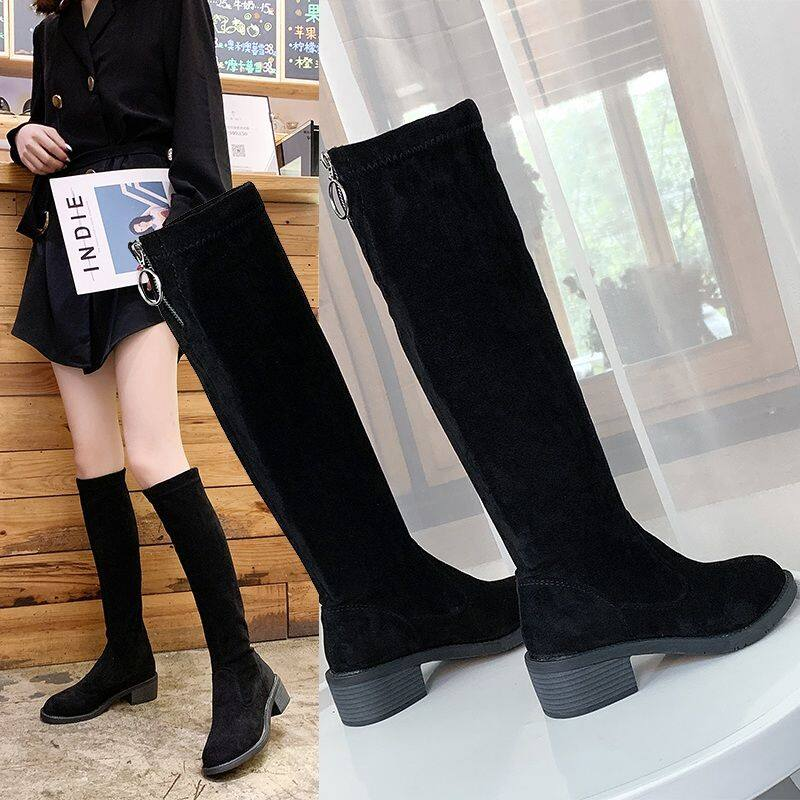 GME555-1长靴女中筒靴2020新款高筒靴高跟冬季靴子平底弹力靴不过膝长筒靴