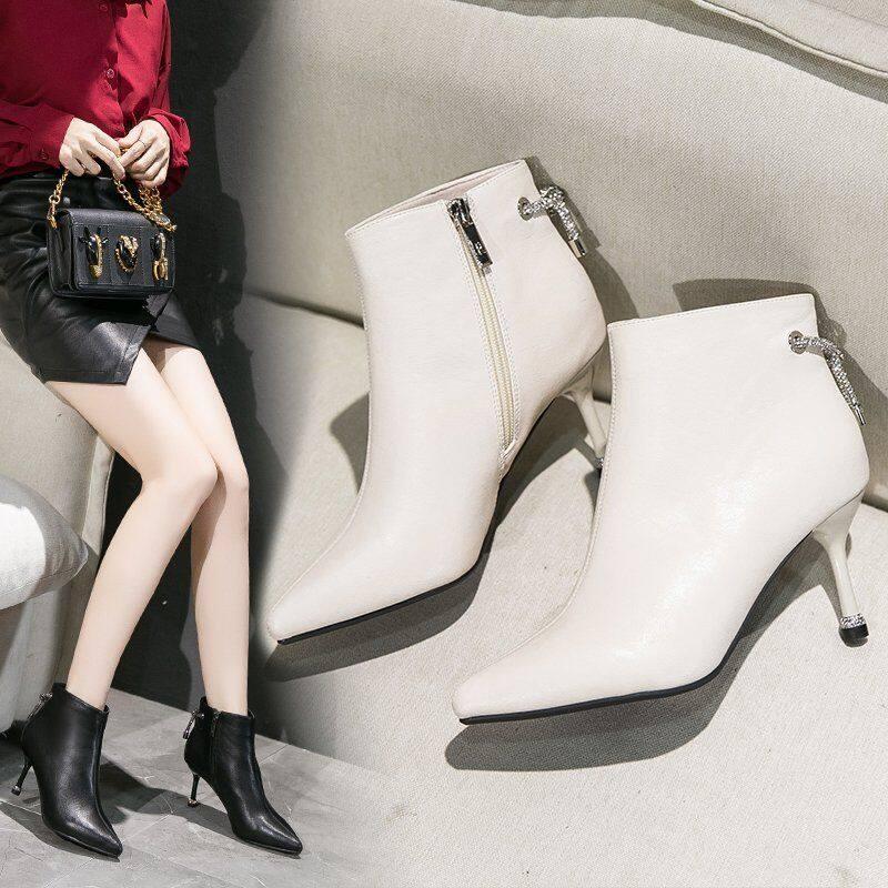G1710马丁靴女2020秋冬新款尖头高跟鞋细跟短靴性感单鞋裸靴百搭瘦瘦靴