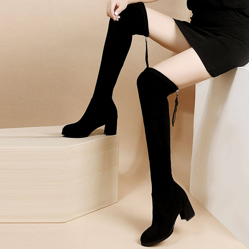 GME813988过膝长靴女2020新款秋冬百搭过膝靴长筒靴粗跟高跟靴子弹力瘦瘦靴