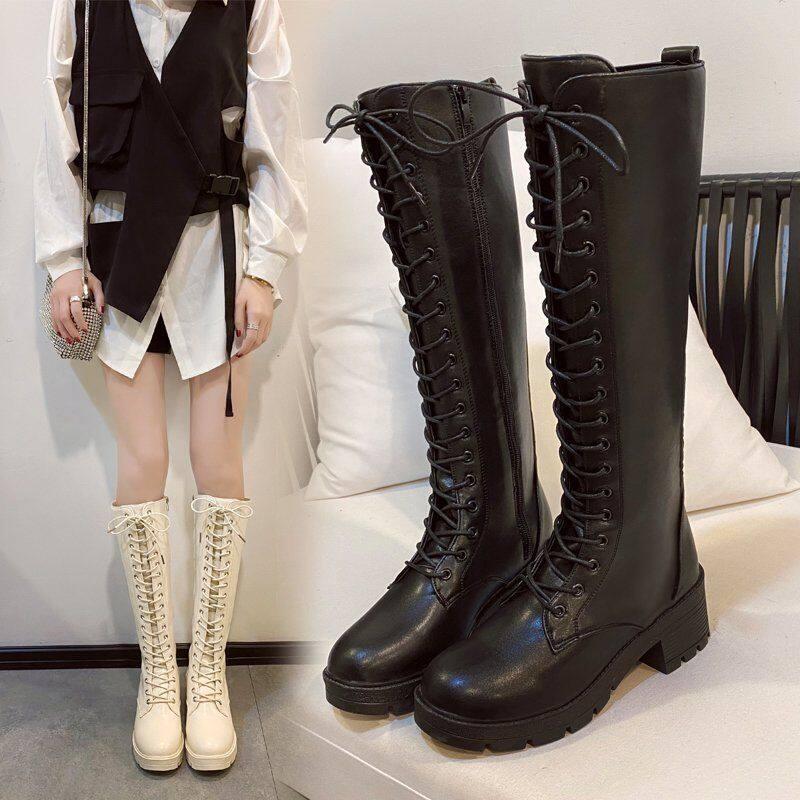 GME81218长筒靴2020新款靴子女骑士靴高筒靴粗跟马靴女不过膝长靴高筒单靴