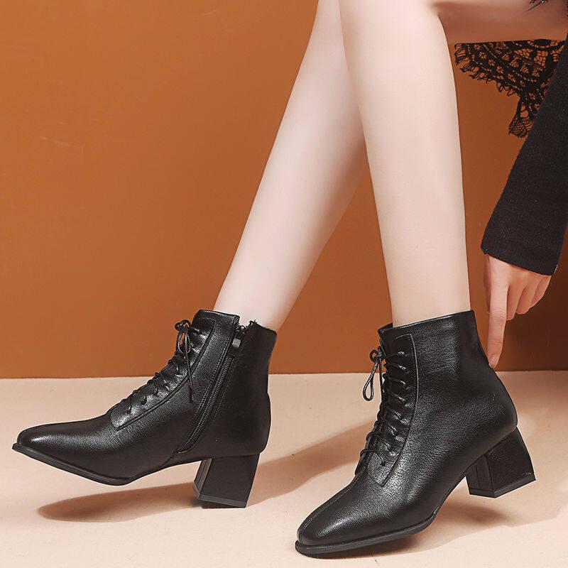 G8183马丁靴2020新款秋冬款时尚百搭中跟冬季短靴女士高跟鞋方头短靴子