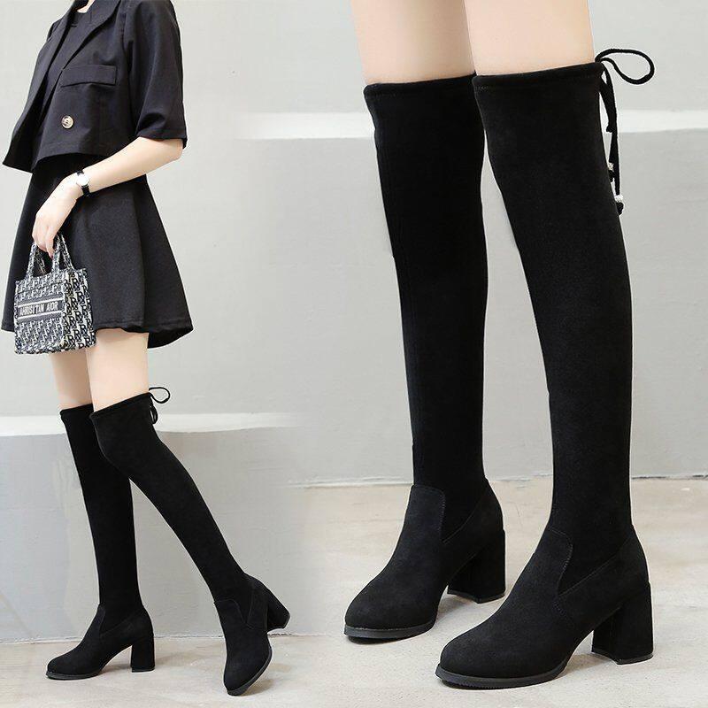 G25622020秋冬新款长靴女过膝高筒弹力靴百搭粗跟女靴子瘦瘦靴长筒女靴