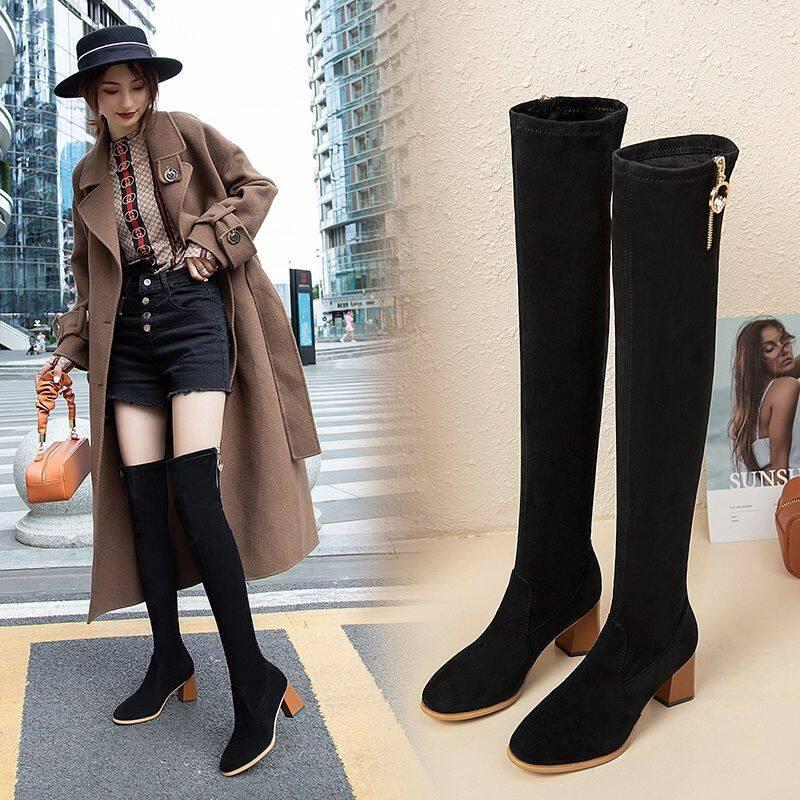 GA02-1长靴女过膝靴2020秋冬季新款高跟长筒靴显瘦弹力瘦瘦靴加绒女靴子