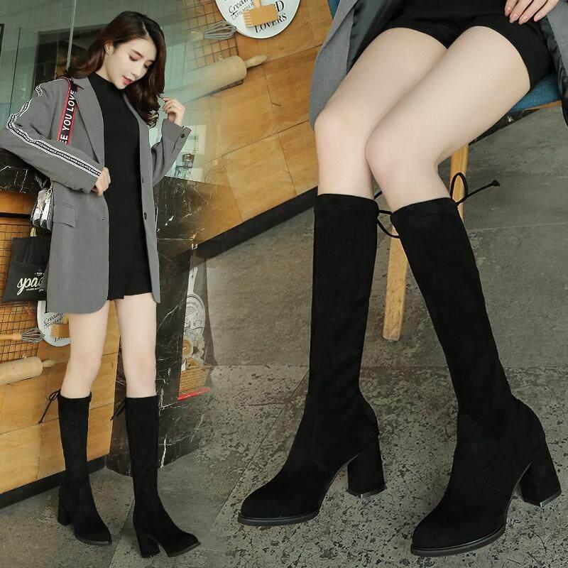 G1689中筒靴女高跟高筒长靴2020秋冬新款靴子女显瘦粗跟百搭弹力瘦瘦靴