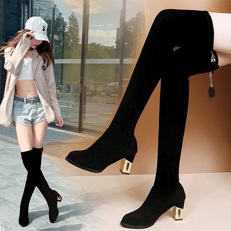 GME86197过膝长靴女粗跟2020新款显瘦百搭冬季加绒弹力靴高筒长靴女瘦瘦靴