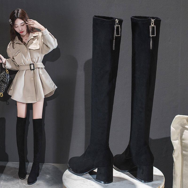 GME1692长靴女过膝2020秋冬季新款靴子女显瘦弹力靴粗跟高跟长筒靴瘦瘦靴